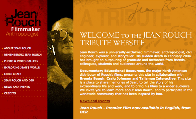 Jean Rouch Tribute microsite